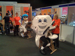 Molar and Tooth Fairy get D-Stressed in Glasgow Conference relaxation area.